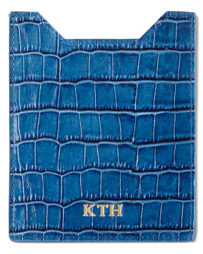 Crocodile-Embossed Passport Case