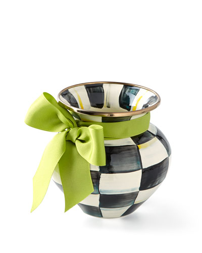 Courtly Check Vase with Green Ribbon
