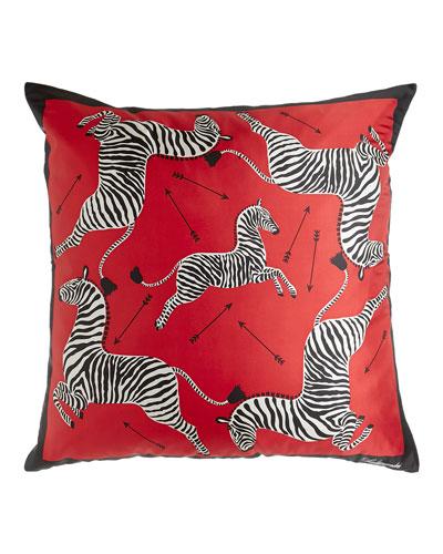 Zebra & Arrow Red Silk Scarf Pillow, 35