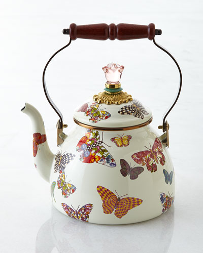 Butterfly Garden White 3-Quart Tea Kettle