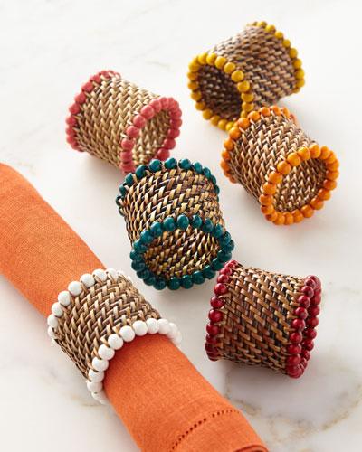 Four Bead-Rimmed Napkin Rings