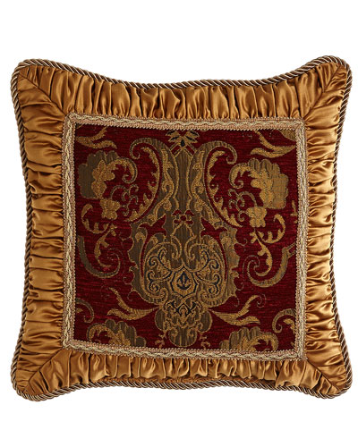 Scarlet Pillow with Shirred Gold Frame, 18