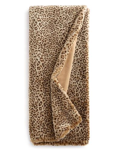 King Snow Leopard Faux-Fur Throw