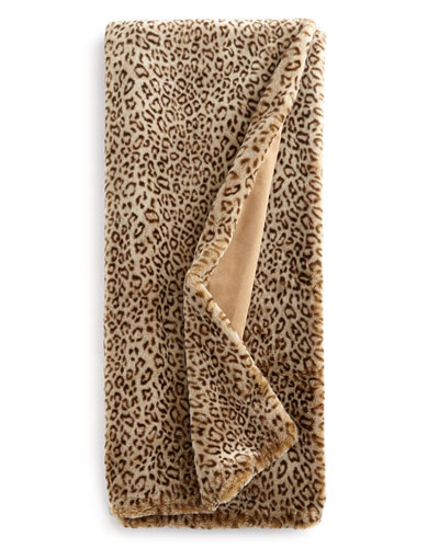 Queen Snow Leopard Faux-Fur Throw
