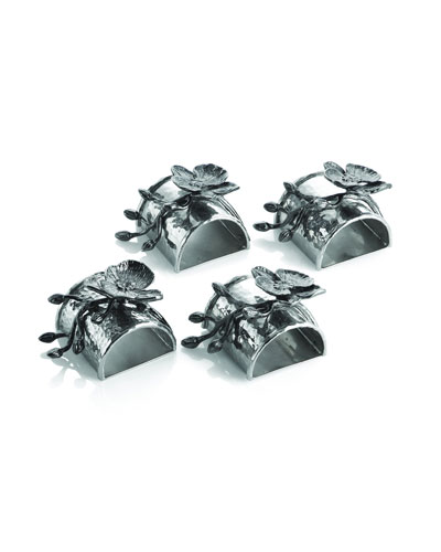 Four Black Orchid Napkin Rings