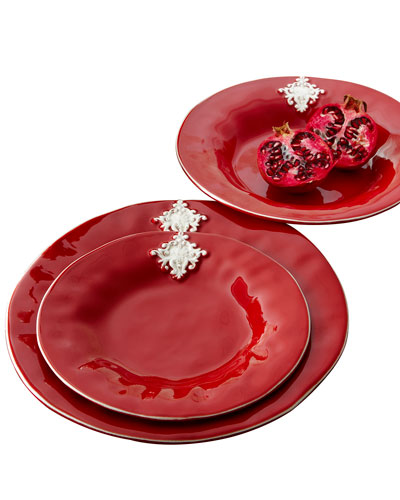 Red Crest Dinner Plates, Set of 4
