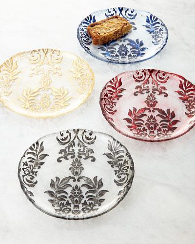 Four Damask Canape Plates