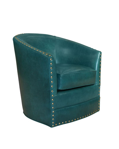 Bryn St. Clair Peacock Blue Leather Swivel Chair