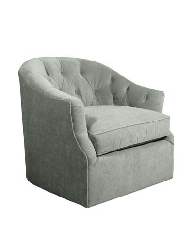 Rae St. Clair Aqua Velvet Swivel Chair