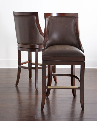 Logan Leather Swivel Barstool