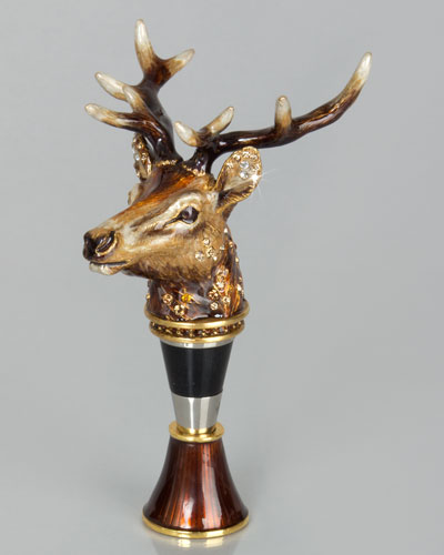 Stag Head Wine Stopper with Stand