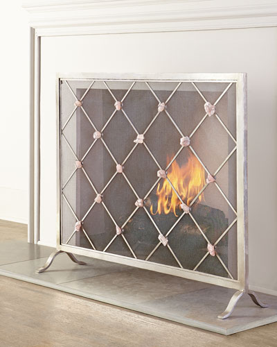 Silver Fireplace Doors : Silver fireplace screen horchow