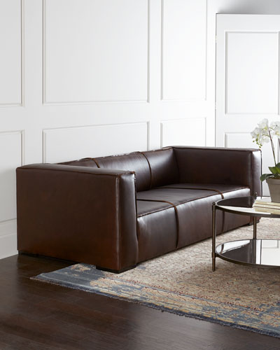 Brown Sleek Leather Sofa Horchow