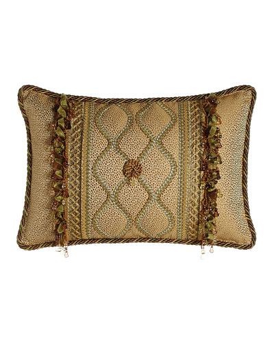 Oblong Rosette Pillow with Gimp Accents & Ribbon & Bead Fringe, 14
