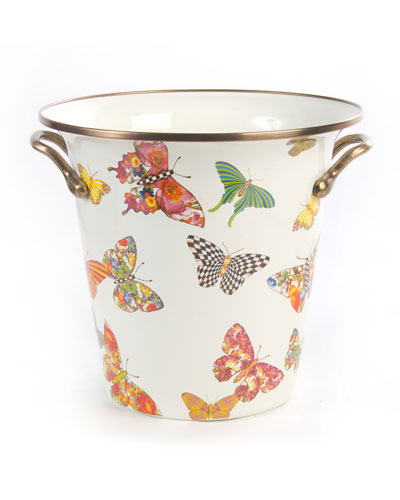 White Butterfly Garden Wine Cooler