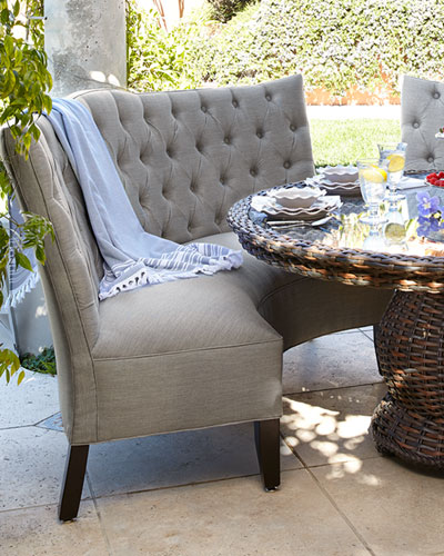 Tufted Outdoor Banquette, Granite