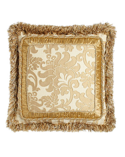 Fringed Pillow with Framed Floral Center, 21