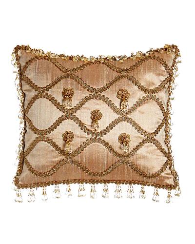 Rue de L'amour Silk Pillow with Rosettes, 13