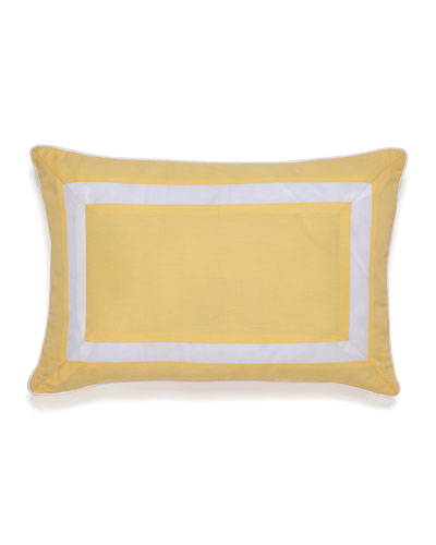 Savannah Tile-Print Lemon Pillow with White Border, 12