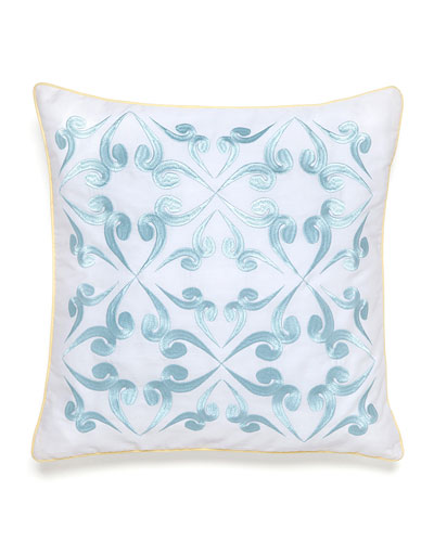 Savannah Tile-Print Pillow with Blue Embroidery, 16