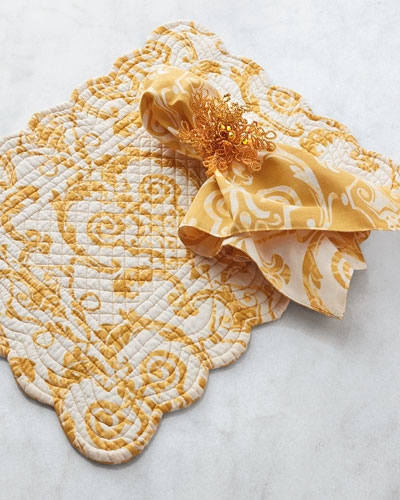 Gold Bead Napkin Rings, Set of 4