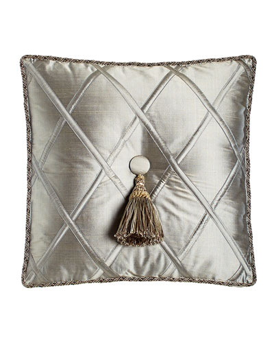 Silk Diamond Pillow with Tassel, 18