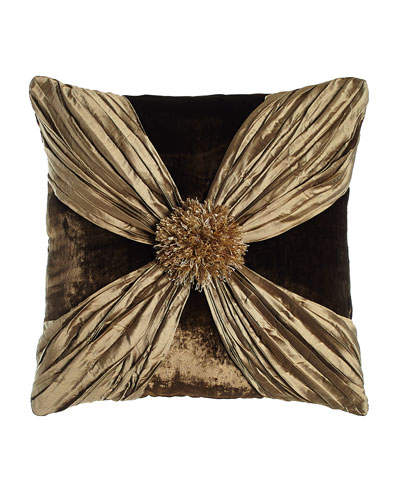 Gatsby Velvet Pillow with Crushed Silk Wrap, 20