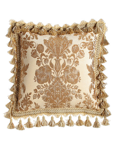 Bellissima Floral Pillow with Tassel Trim, 18