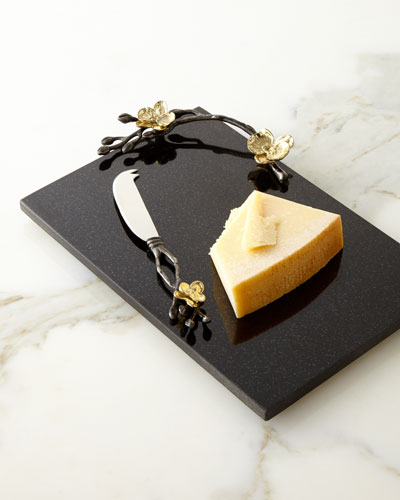Gold Orchid Small Cheese Board & Knife