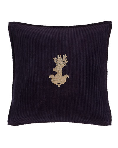 Purple Inverness Stag-Head Pillow, 18