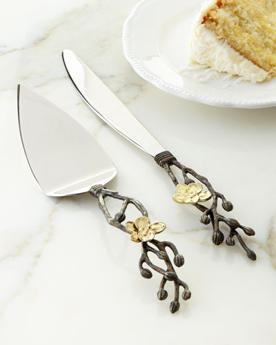 Gold Orchid Wedding Cake Knife & Server