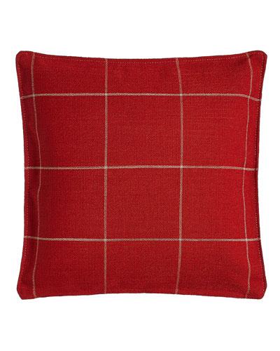Red Windowpane Plaid Pillow, 20