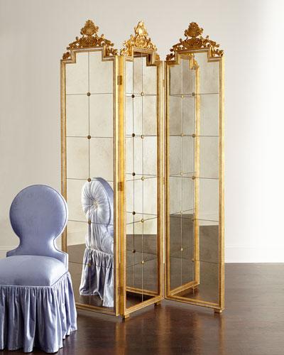 Gia Three-Panel Mirrored Floor Screen