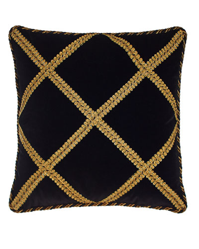 Marrakesh Black Velvet Pillow with Gimp Trellis, 18