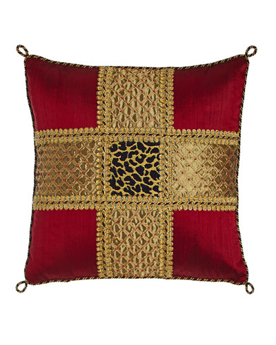 Marrakesh Beaded Silk Pillow with Leopard Center, 15