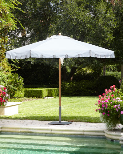 White Keyhole Valance Outdoor Market Umbrella