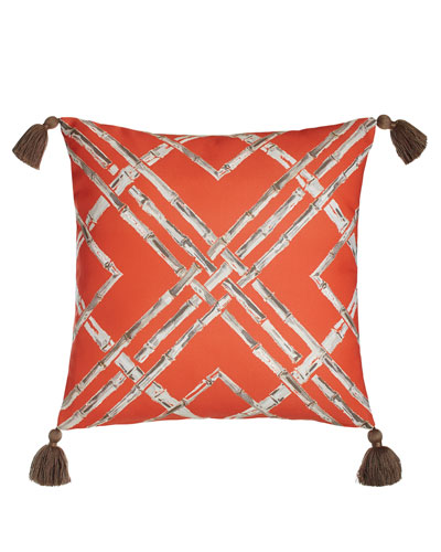 Melon Bamboo Outdoor Pillow with Tassels