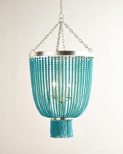 Turquoise-Bead 4-Light Chandelier
