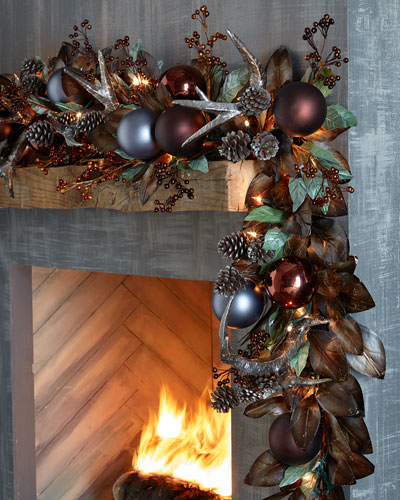 Pewter & Bronze Pre-Lit 6' Christmas Garland