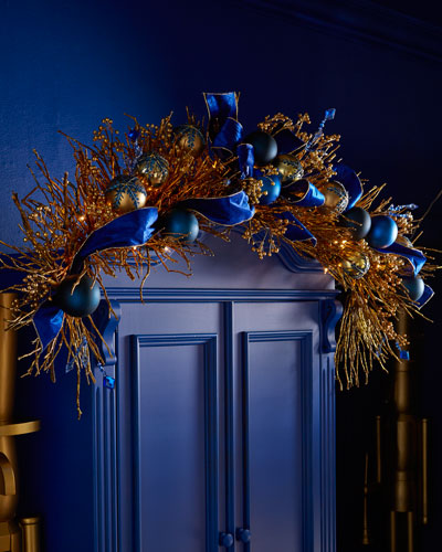 Sapphire & Gold Pre-Lit 6' Christmas Garland