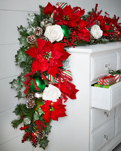 Classic Red & Green Pre-Lit 6' Christmas Garland