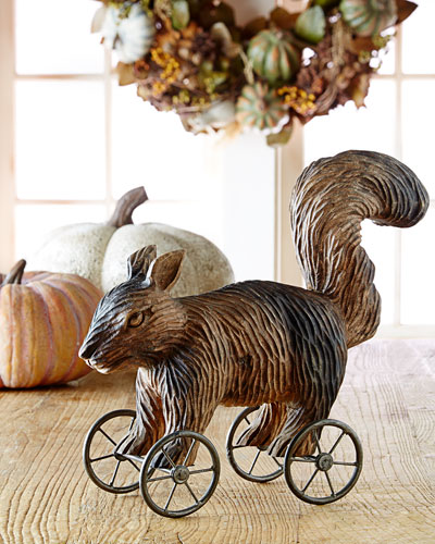 Squirrel on Metal Wheels Holiday Decor