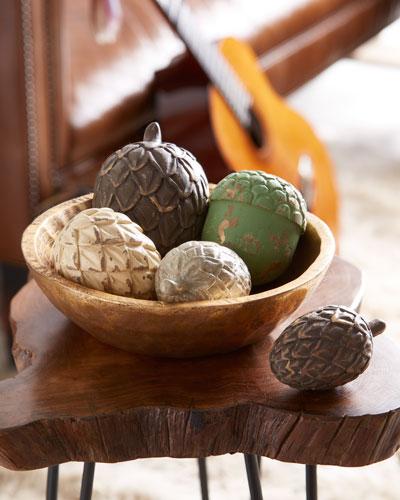5 Pine Cones in Golden Bowl