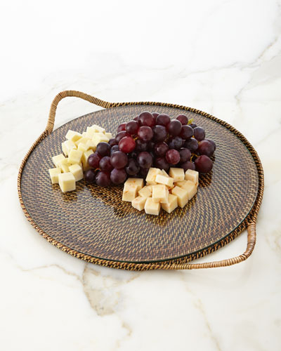 Round Serving Tray with Glass Insert