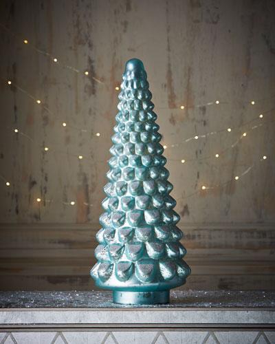 Mercury-Glass Blue Hobnail Tree
