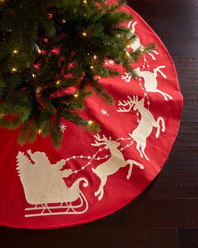 Santa & Sleigh Christmas Tree Skirt