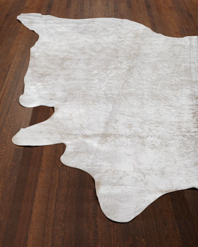Silver Medallion Hairhide Rug