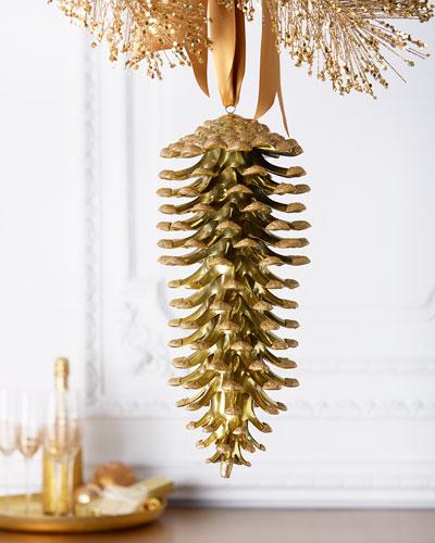 Golden Pine Cone Christmas Ornament