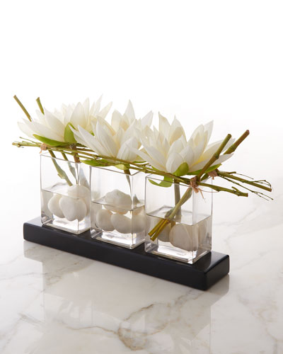 Water Lilies Faux-Floral Arrangement
