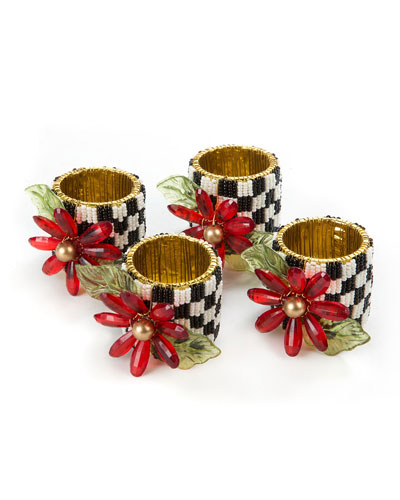 Poinsettia Napkin Rings, Set of 4